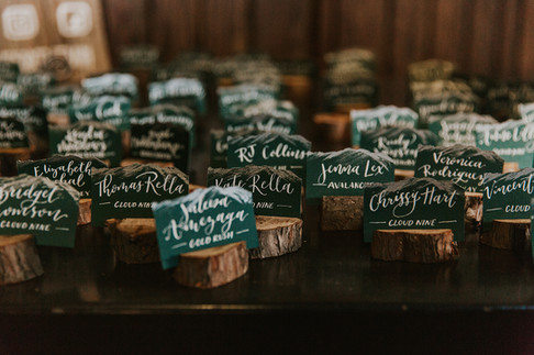 Hand-lettered and hand-painted escort cards