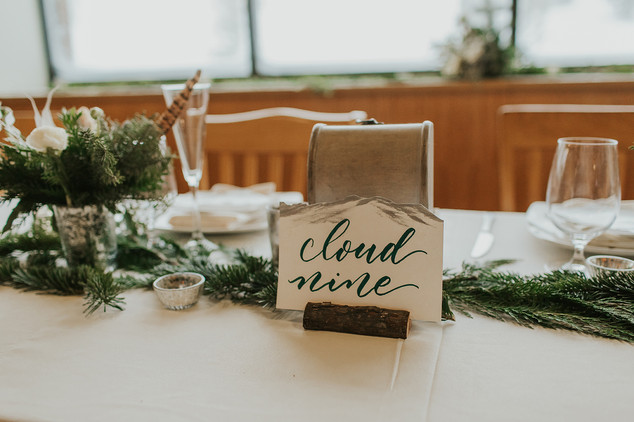 Hand-lettered and hand-painted table signs