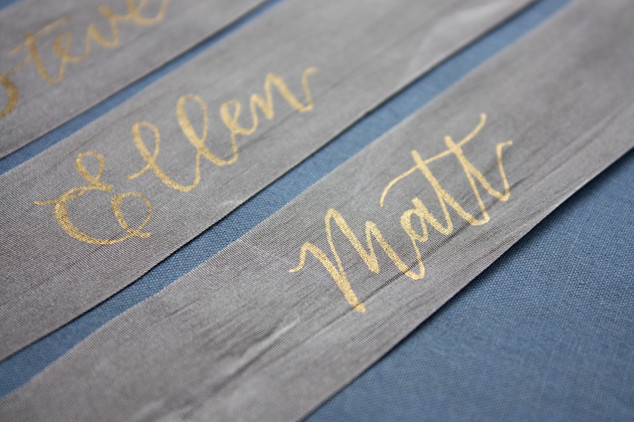 Hand-lettered Ribbon Name Tags