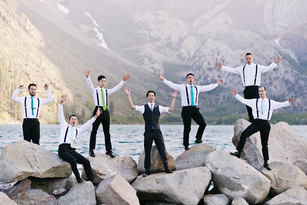 Wedding Party Groomsmen on Rocks