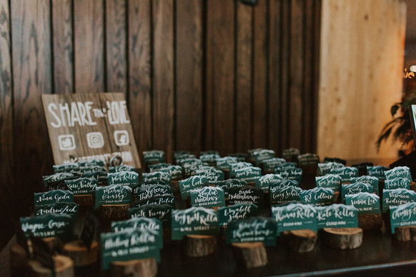Hand-lettered and hand-painted escort card display
