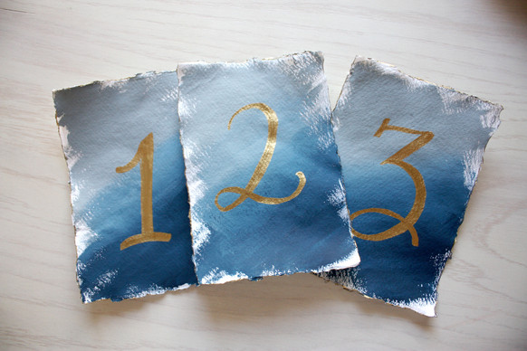 Hand-painted Table Number Cards