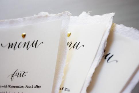 Custom Calligraphed menus