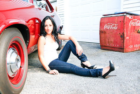 Model with Chevy Nova and Coca Cola Cooler