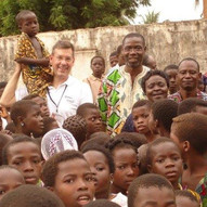 With orphaned children far north of the capital Lome in Togo, West Africa.