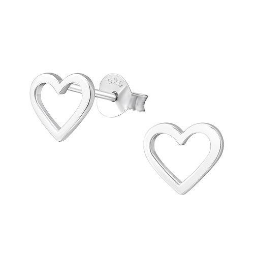 925 Sterling Silver Empty Heart Stud Earrings