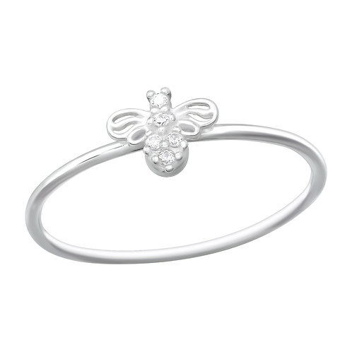 Gorgeous Sterling Silver Bee Ring, Size L