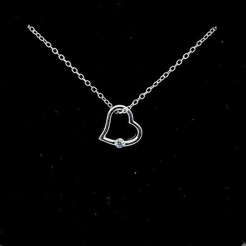 Dainty Sterling Silver Heart Pendant - CZ