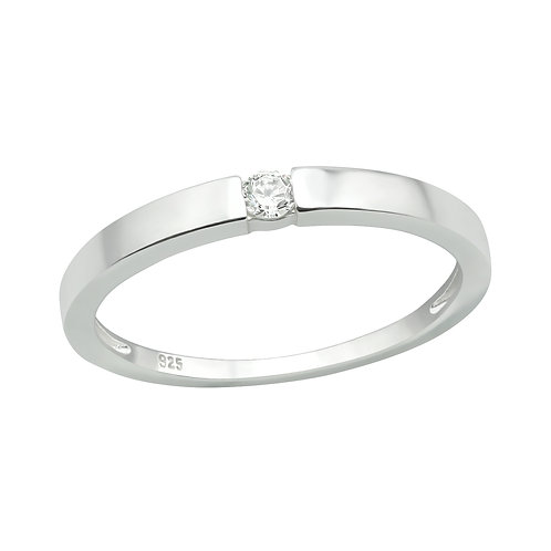 Single Stone Sterling Silver Ring, Size L