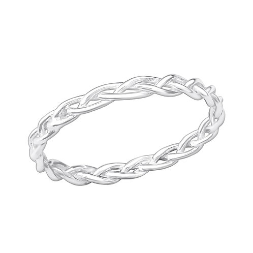 Sterling Silver Braided Ring, Size J