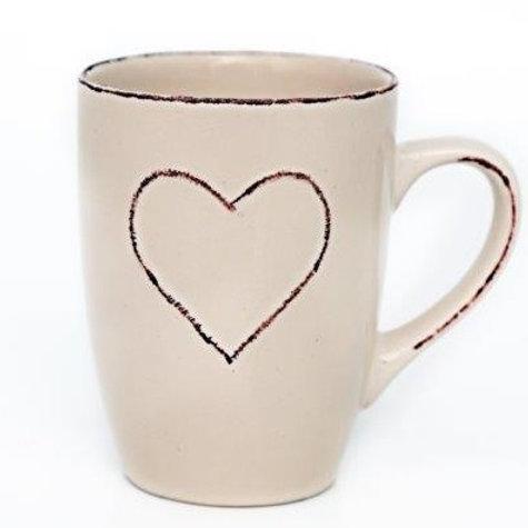 Shabby Chic Cream Ceramic Heart Mug