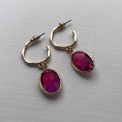 Statement Oval Fuchsia Gem Drop Earrings