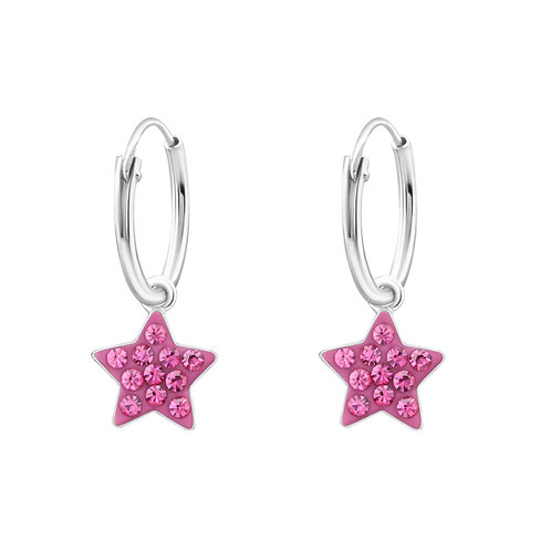 Pink Star 925 Sterling Silver Ear Hoops