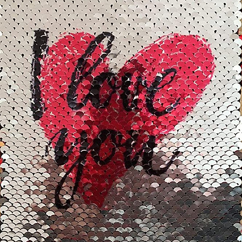 Reveal Red Heart Reversible Sequin Card