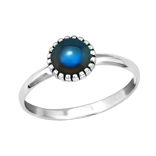 Pretty Sterling Silver Mood Ring, Size L