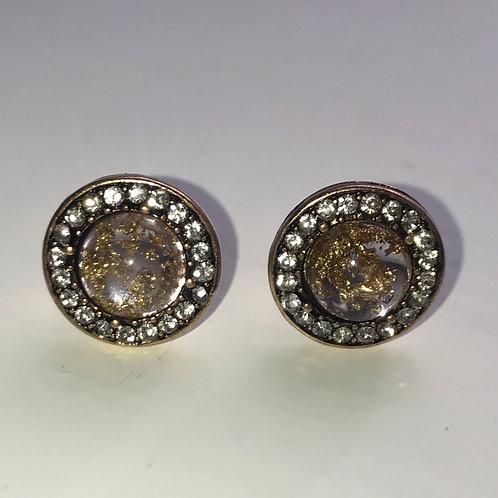 Vintage Gold & Pink Stud Earrings