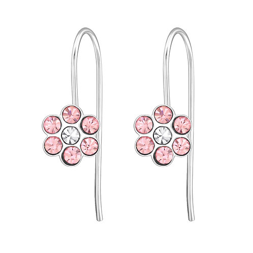 Pink Flower 925 Sterling Silver Earrings