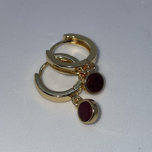 Gold Plated Huggie Earrings with Red Charm
