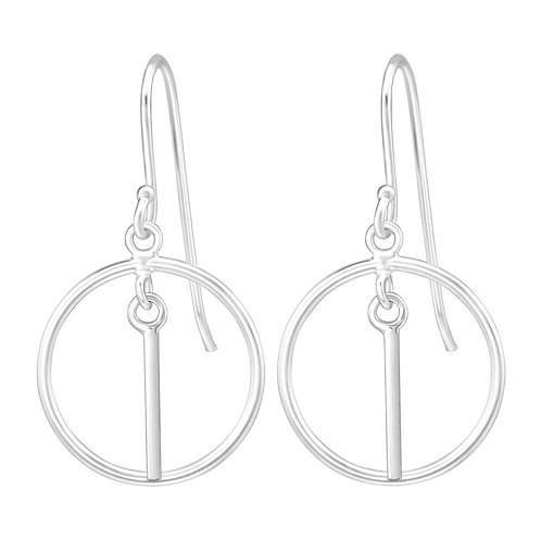 925 Sterling Silver Hanging Circle Bar Earrings