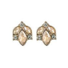 Gold & Champagne Stud Earrings with Crystal Detail
