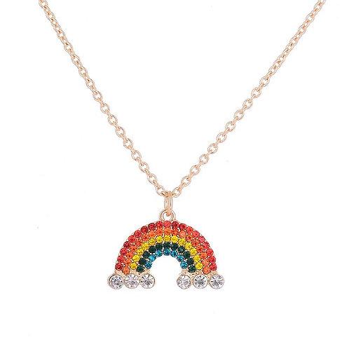 Rainbow Diamanté Short Necklace