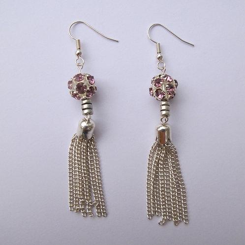 Lilac & Silver Drop Earrings