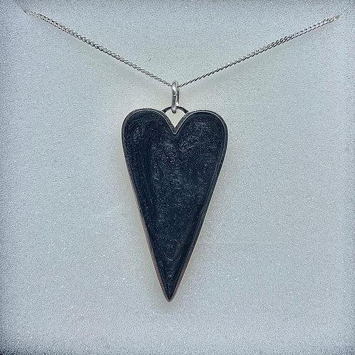 Striking Sterling Silver Black Heart Pendant