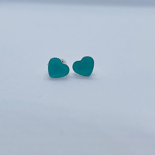 Sterling Silver Small Resin Heart Studs