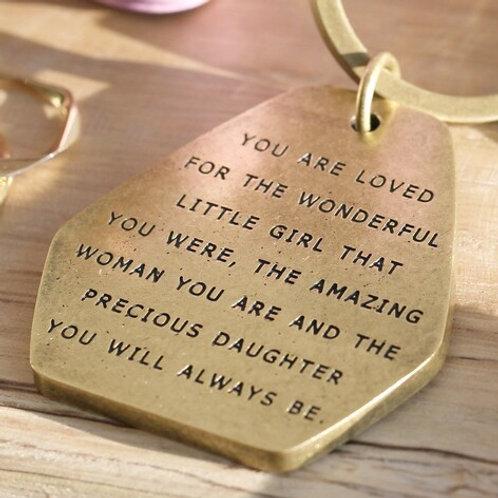 'Precious Daughter' Brass Keyring