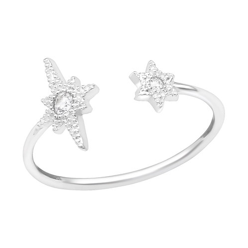 925 Sterling Silver Open Star Jewelled Ring