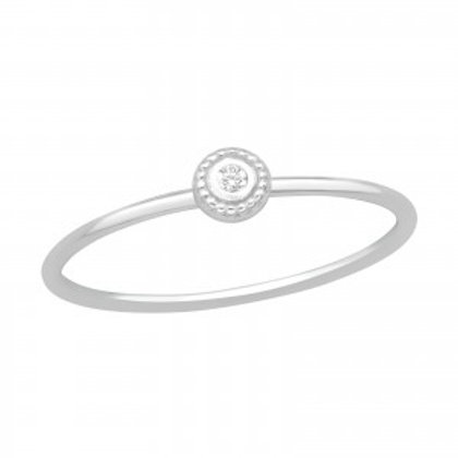 Delicate Sterling Silver Jewelled Ring, Size L