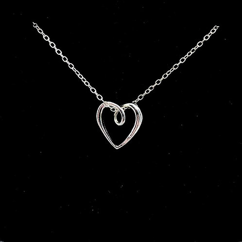 Pretty Sterling Silver Ribbon Heart Pendant