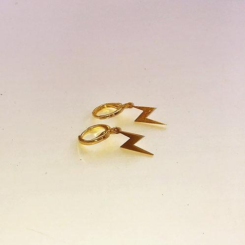 Gold Lightning Bolt Huggie Hoop Earrings