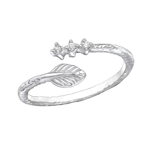 Open Leaf 925 Sterling Silver Jewelled Ring