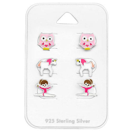 Owl, Unicorn & Gymnast Stud Earrings