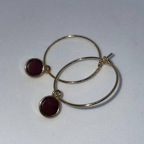Gold Plated Hoop Earrings with Red Charm
