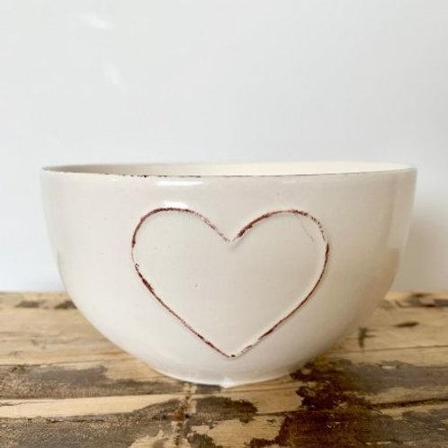 Heart Embossed Cream Bowl