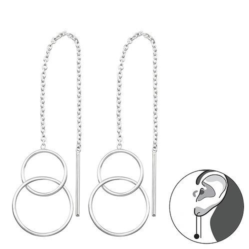Thread Through Double Circle Earrings