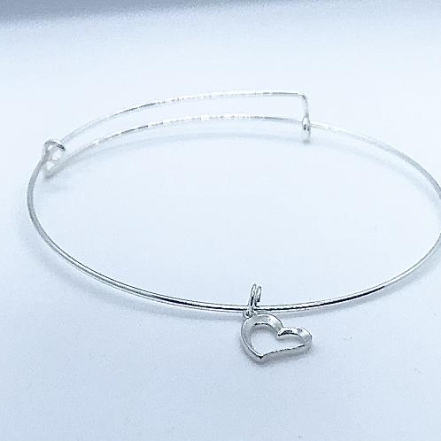 Sterling Silver Adjustable Heart Bangle