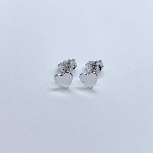 Sterling Silver Small Heart Stud Earrings