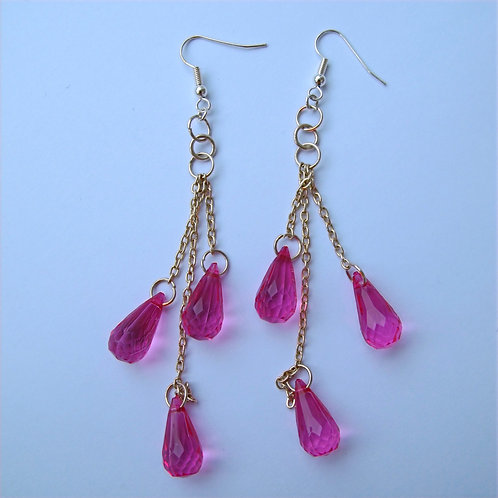 Triple Drop Fuschia Beaded Earrings