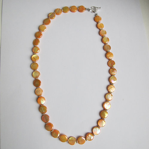 Irridescent Peach & Silver Beaded Necklace