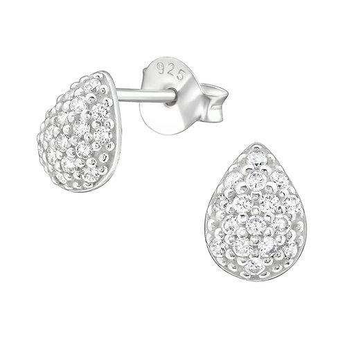 925 Sterling Silver Pear CZ Stud Earrings
