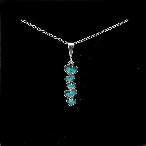 Delicate Tiffany Blue Sterling Silver 5 Heart Pendant