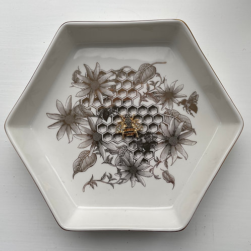 Fine China Gold Honeycomb Bee Trinket Dish
