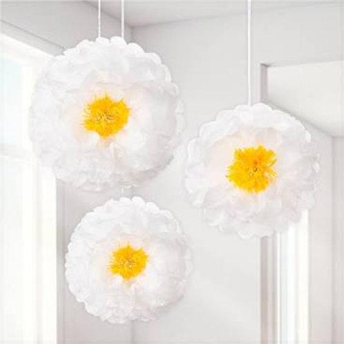 3 Daisy Pom Pom Flower Decorations