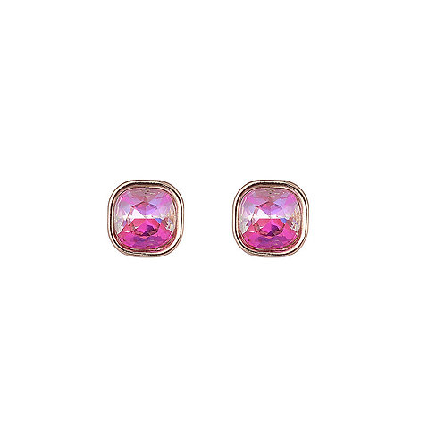 Hot Pink & Gold Square Gem Stud Earrings