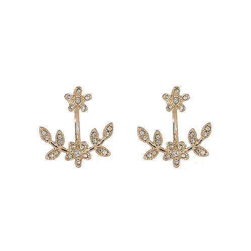 Gold Sparkly Leaf and Flower Stud Earrings