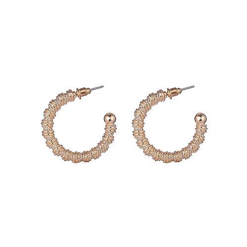Gold Textured Half Hoop Earrings