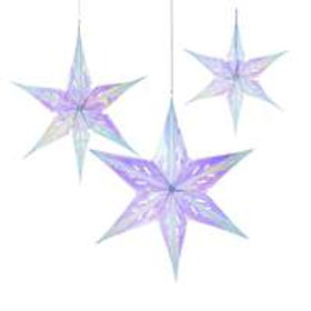 3 Iridescent Star Decorations